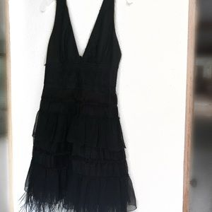 BCBGMAXAZRIA Black Feather Dress